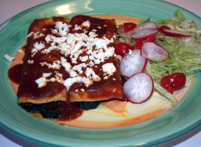 Red Chile Spinach Enchiladas